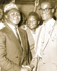 Ochwada (right) with Tom Mboya (Nation Media)